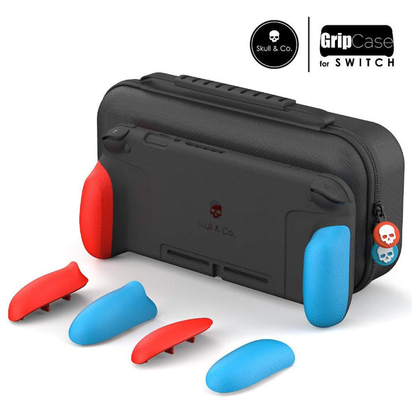 Skull & Co. GripCase Set for Nintendo Switch (with MaxCarry Case & Grips) - Neon Red & Blue