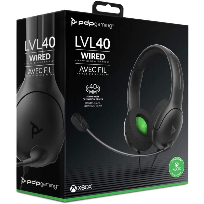 Xbox One PDP LVL40 Wired Stereo Gaming Headset (Black/Green)