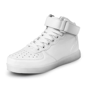 LED Glow in Dark High Top Sneakers (White) - Ledkers