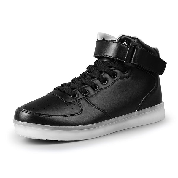LED Glow in Dark High Top Sneakers (Black) - Ledkers