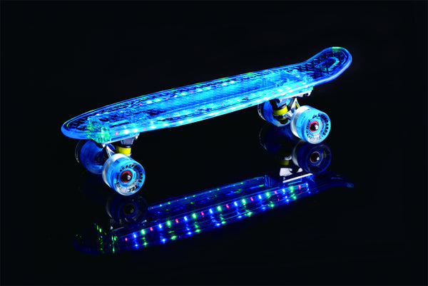 "Ledkers 22"" LED Light Up Skateboard Cruiser Board Complete with Nylon travel bag - Ledkers"