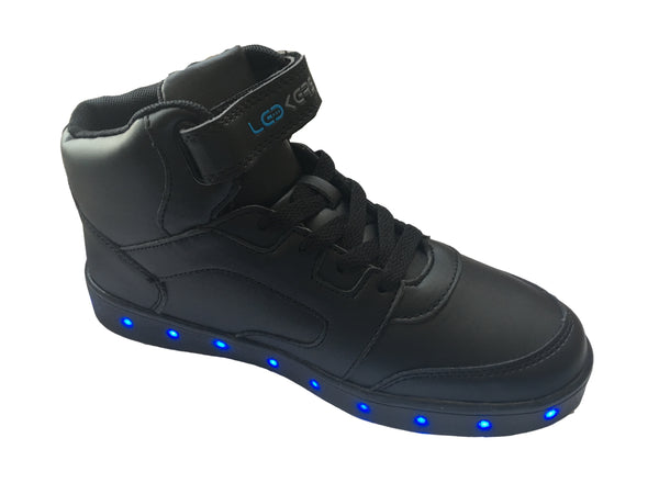 LED Light Up High Top Sneakers (Black) 2017 model - G06BK - Ledkers
