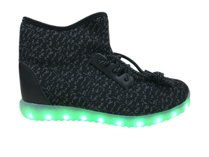 Light Up High Top Woven Shoes - Black/Grey G11BK - Ledkers