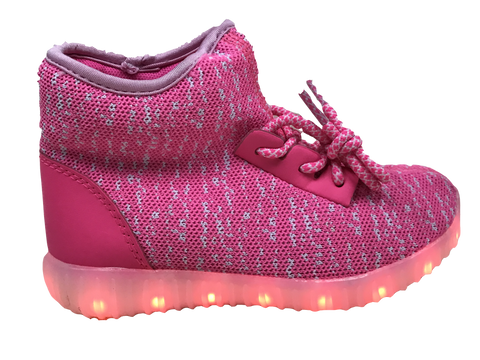 Light Up High Top Woven Shoes - Pink/White G11PK - Ledkers
