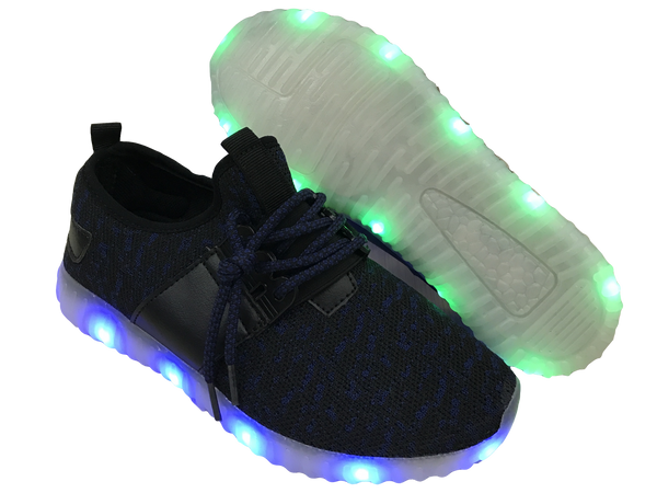Light Up Woven Shoes - Black/Blue G12BL - Ledkers