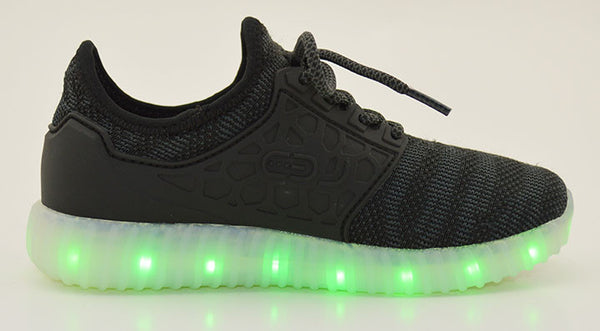 Light Up Woven Side Support Shoes 2017 style - Black G50BK - Ledkers