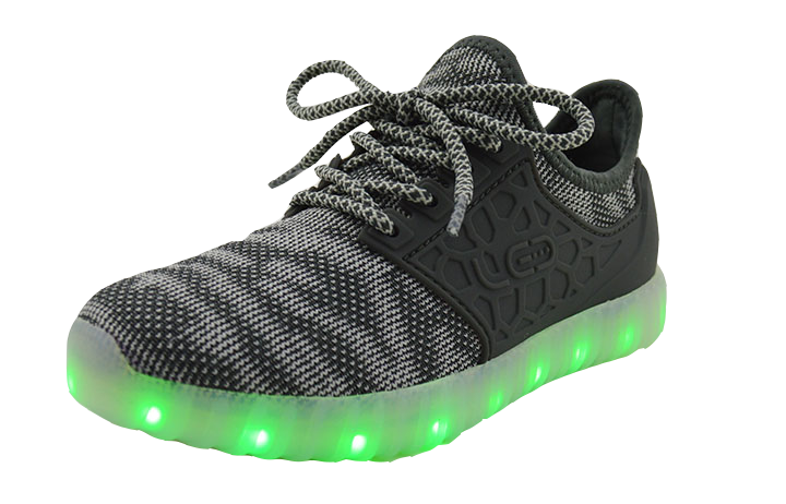 Light Up Woven Side Support Shoes 2017 style - Grey G50GR - Ledkers