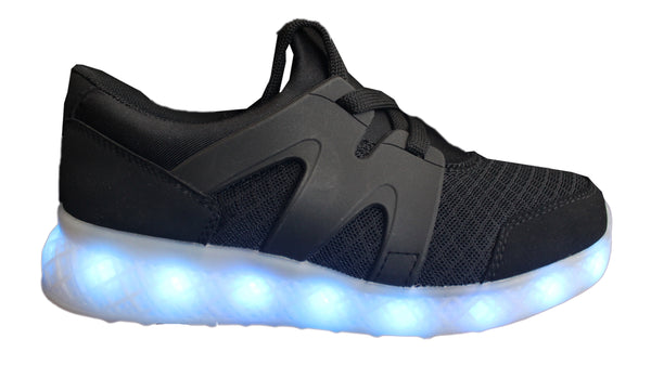 LED Light Up Woven 2017 Style Shoes - Black G51BK - Ledkers