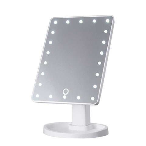 Lighted Makeup Mirror with 22 LED Lights Touch Screen Dimmable USB Power Supply - Ledkers