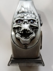 Silver Andis Masters 3D Fire Skull with Stone Clipper lid