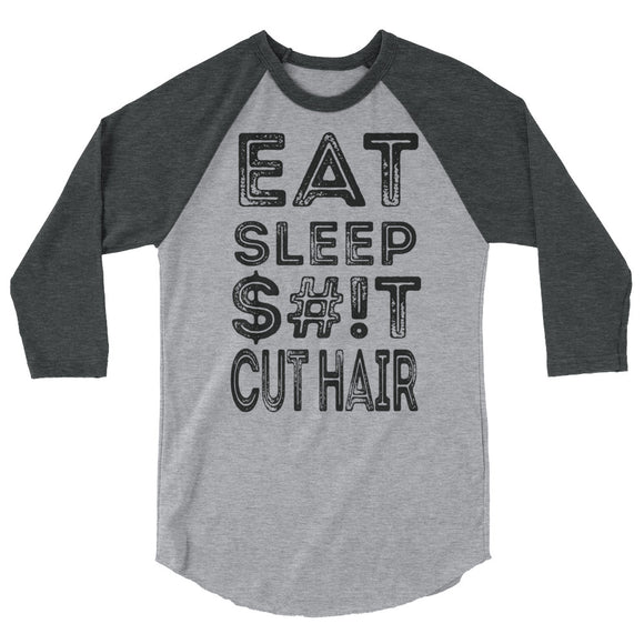 Hair Salon Eat Sleep $#iT Cut Hair Baseball Tees Barbershop Barbers Stylist - Hiki10 Collection