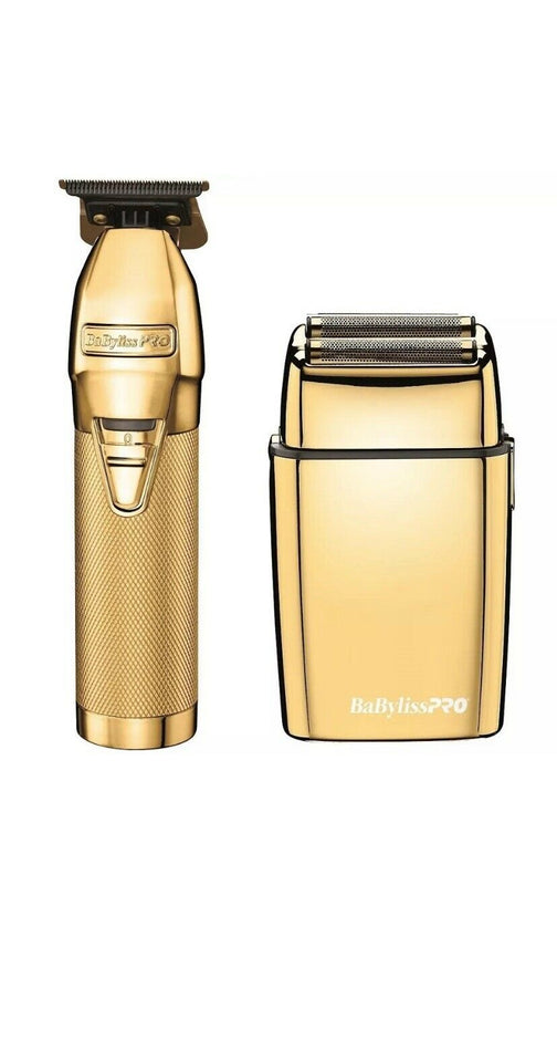 Babyliss Pro Gold FX Collection Bundle - Gold Metal Lithium Trimmer Outliner & Gold Metal Cordless Double Foil Shaver