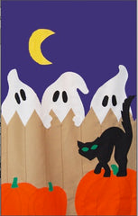 3 Ghosts on Fence Halloween banner