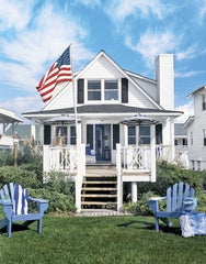 USA flag on beach house yard