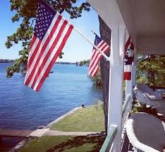 USA flag on porch/shore house