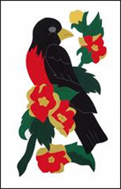 Robin & Flowers Applique Flag