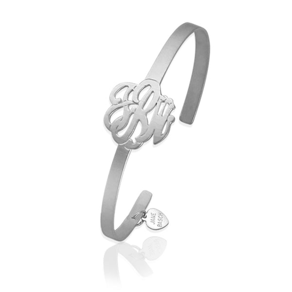 Jane Basch Script Monogram Cuff - Brushed Sterling Silver