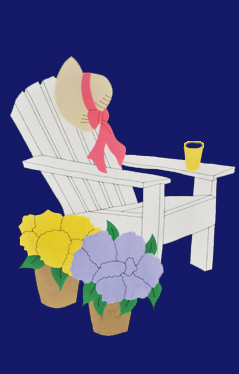 Adirondack Chair Applique House Flag on Navy