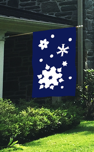 Snowflakes Applique House Flag on Navy