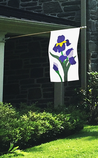 Iris Applique House Flag on White