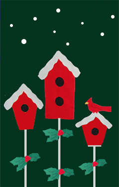 3 Birdhouses & Holly Flag on Forest