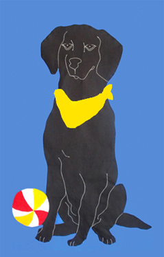 Black Lab & Beach Ball - French Blue