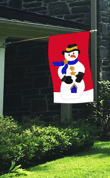 Snowman & Mittens Applique Flag on Red