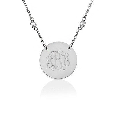 Basch Disc Necklace - Sterling Silver CZ Chain - FREE ENGRAVING!