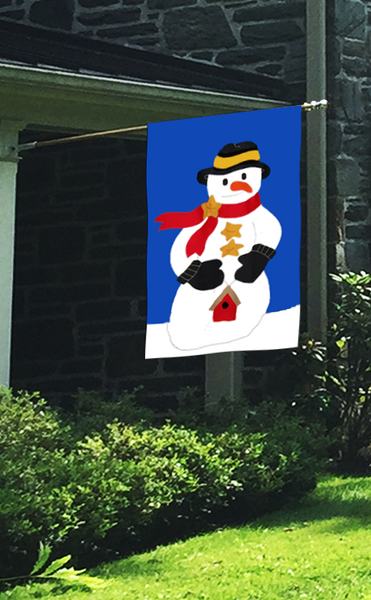 Snowman & Mittens Applique Flag on Royal