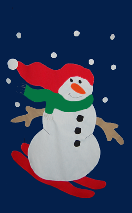 Snowman Skiing Applique Flag on Navy