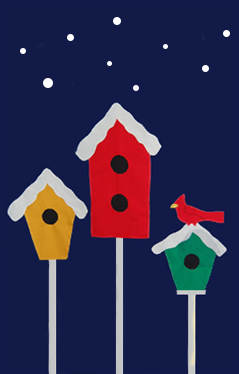 3 Birdhouses & Snowflakes Flag on Navy