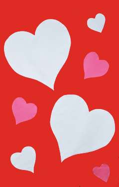 Valentine Hearts Applique Flag on Red