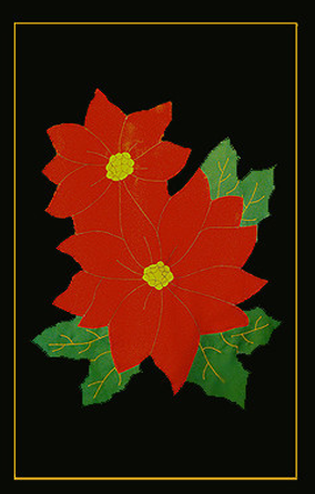 Poinsettia Applique Flag - Red on Black