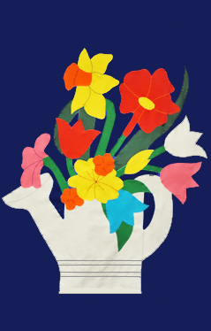 Watering Can & Flower Blossoms Flag on Navy