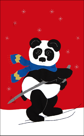Panda on Skis Applique Flag on Red
