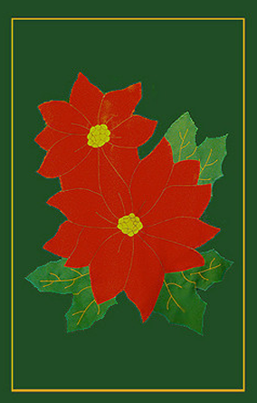 Poinsettia Applique flag - Red on Forest Green