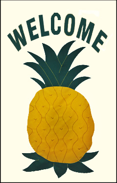 "Pineapple ""WELCOME"" Applique Flag - Ivory"