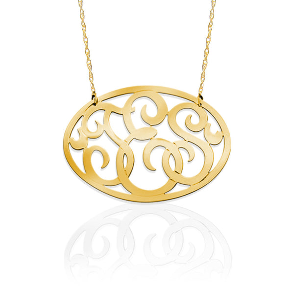 "Basch 1.25"" Oval Monogram Necklace - Gold Vermeil"