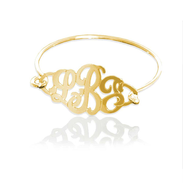 Jane Basch Monogram Bangle Bracelet - Gold Vermeil