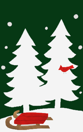 White Trees, Cardinal & Sled Applique House Flag on Forest