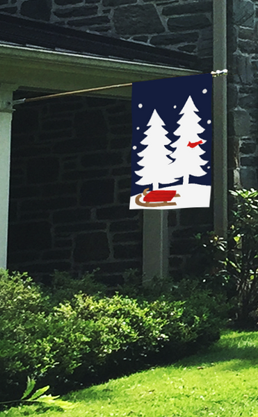 White Trees, Cardinal & Sled Applique House Flag on Navy