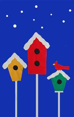 3 Birdhouses & Snowflakes House Flag on Royal