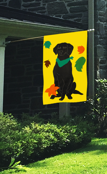 Black Lab & Falling Leaves Flag on Yellow