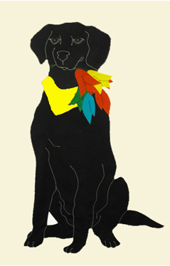 Black Lab & Tulips Flag on Ivory