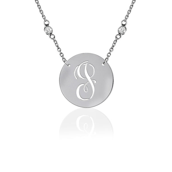 Jane Basch Pierced Initial Sterling Silver Necklace/CZ Chain