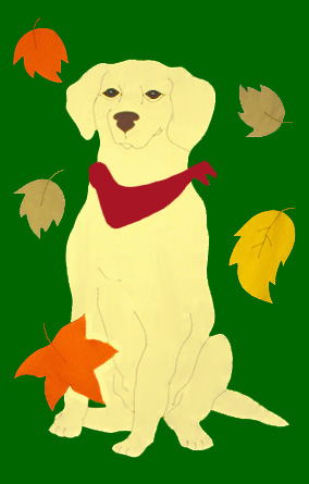 Yellow Lab & Falling Leaves Flag on Forest