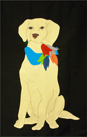 Yellow Lab & Tulips Applique Flag on Black