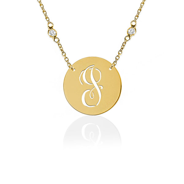 Jane Basch Pierced Initial Necklace/CZ Chain - Gold