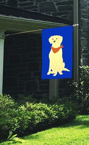Yellow Lab Applique Flag - Royal