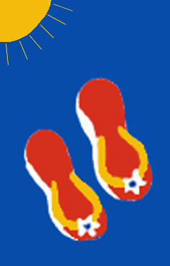 Summer Flip Flops Flag on Royal